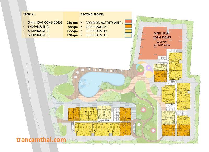 Mặt bằng tầng 2 dự án The Elysium Quận 7