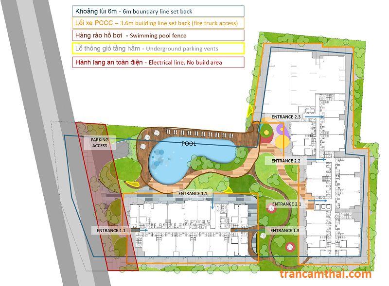 Bày trí cảnh quan cây xanh xung quanh dự án The Elysium