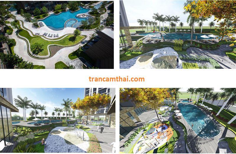 Hệ thống hồ bơi và cảnh quan cây xanh tại chung cư The Elysium Quận 7