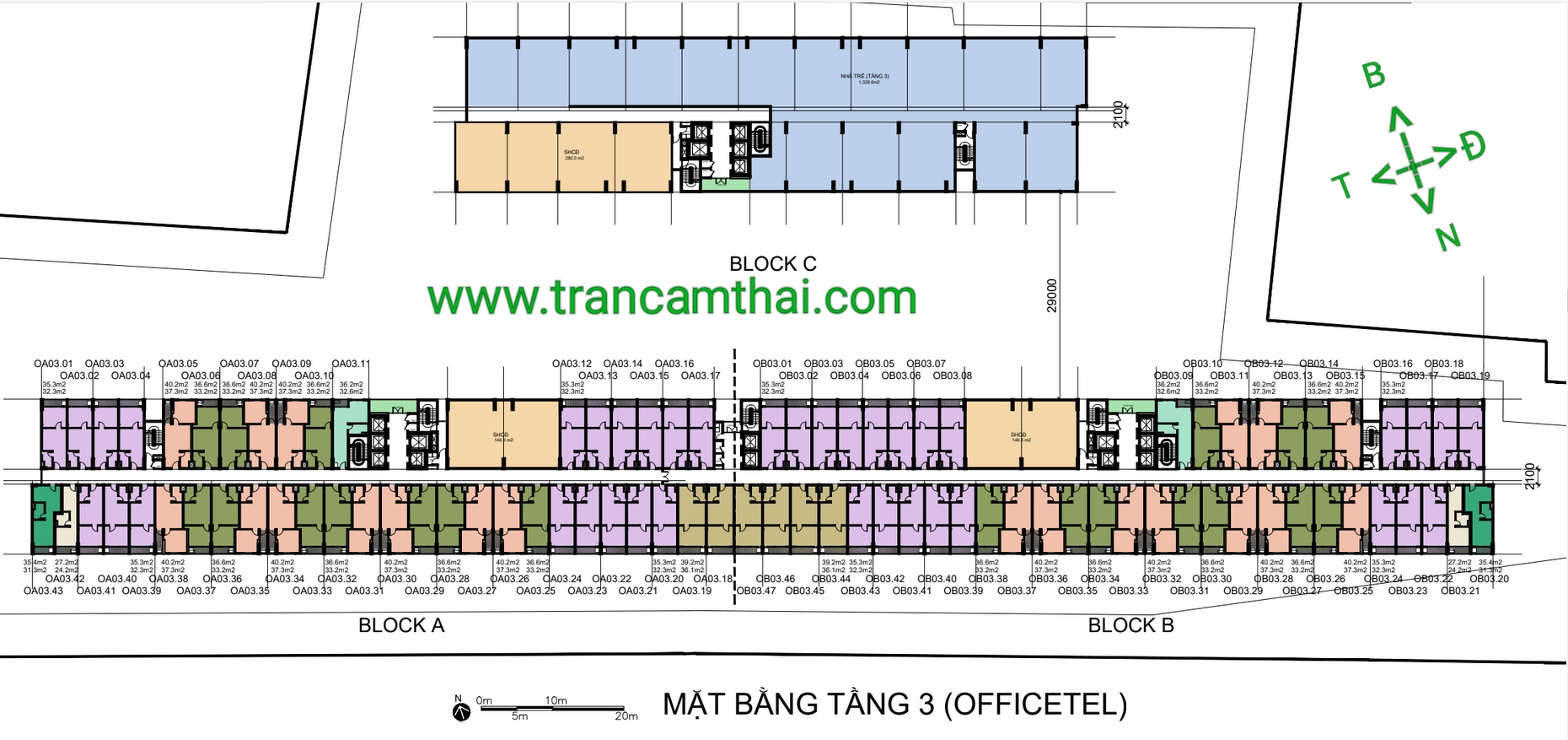 mặt bằng office-tel tầng 3 the elysium