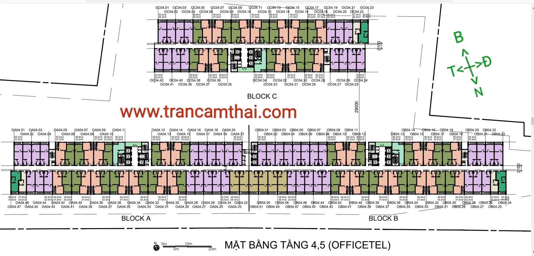 mặt bằng office-tel tầng 4-5 the elysium