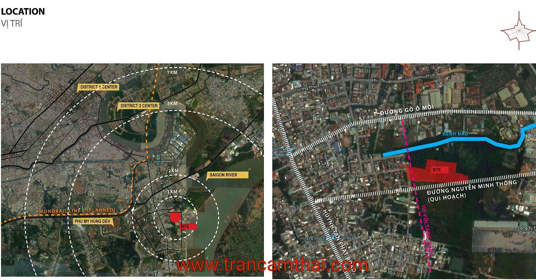 Vị trí dự án The Elysium Quận 7 nhìn từ vệ tinh