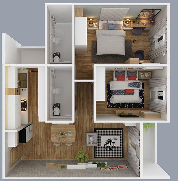 Mẫu kết cấu một căn hộ Diamond Riverside