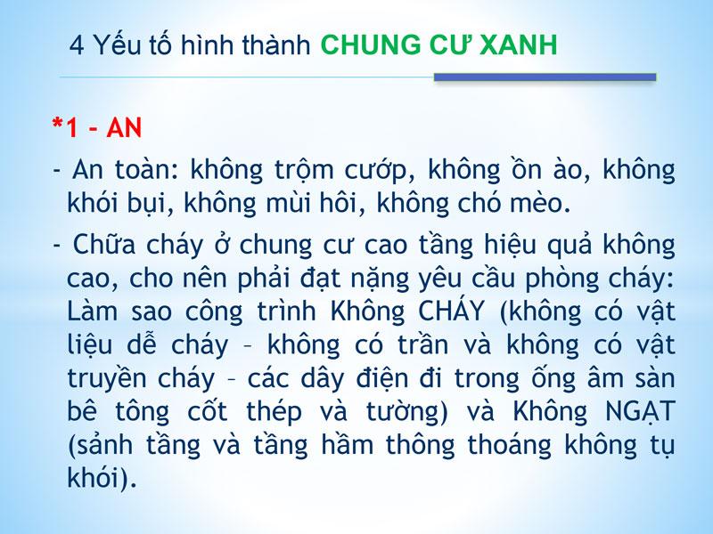 An - Yếu tố đầu tiên khi hình thành chung cư Saigon Xanh Quận 8.
