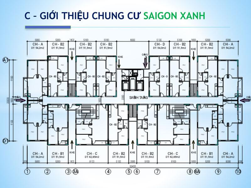 Mặt bằng chi tiết căn hộ Saigon Xanh Quận 8.
