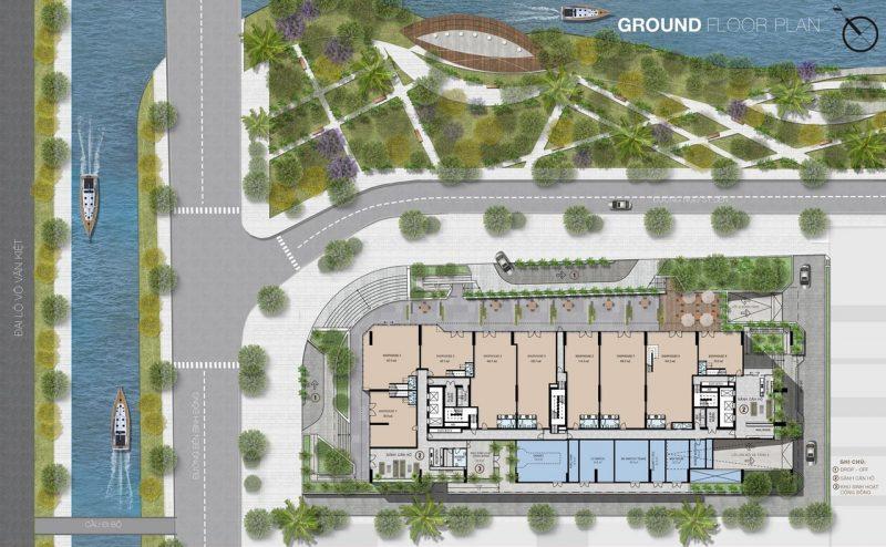 Mặt bằng tầng trệt dự án Aurora Residences.