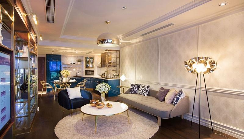Phòng khách căn hộ mẫu The Grand Manhattan Quận 1