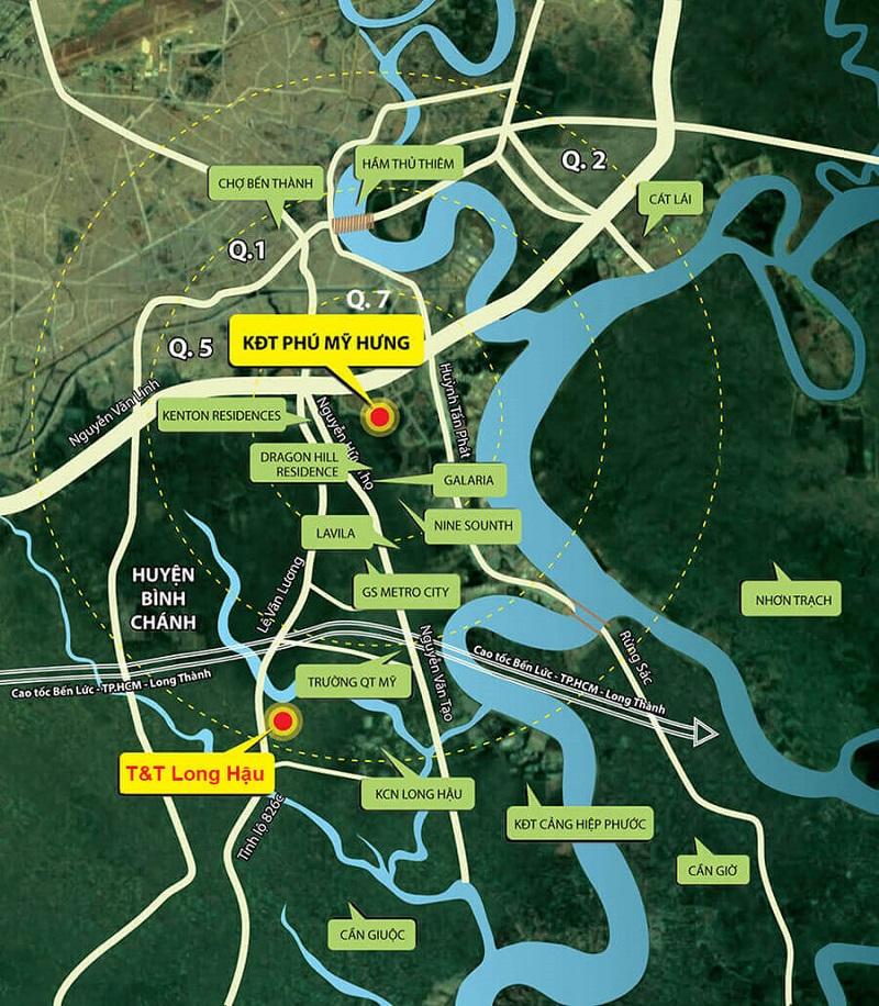 Liên kết vùng từ vị trí dự án dự án T&T Millennia City Long An