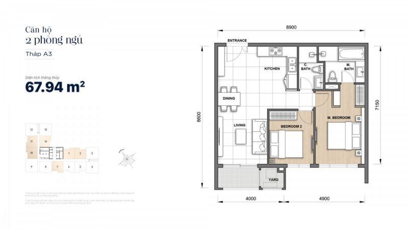 Mặt bằng căn hộ 2 PN dự án The Grand Manhattan Quận 1