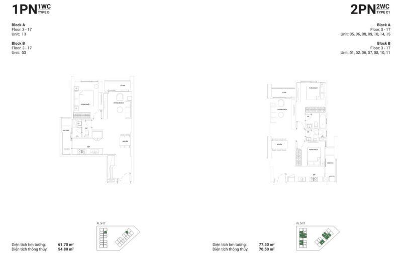 Thiết kế căn hộ 1 PN-1 WC và căn hộ 2 PN-2 WC.