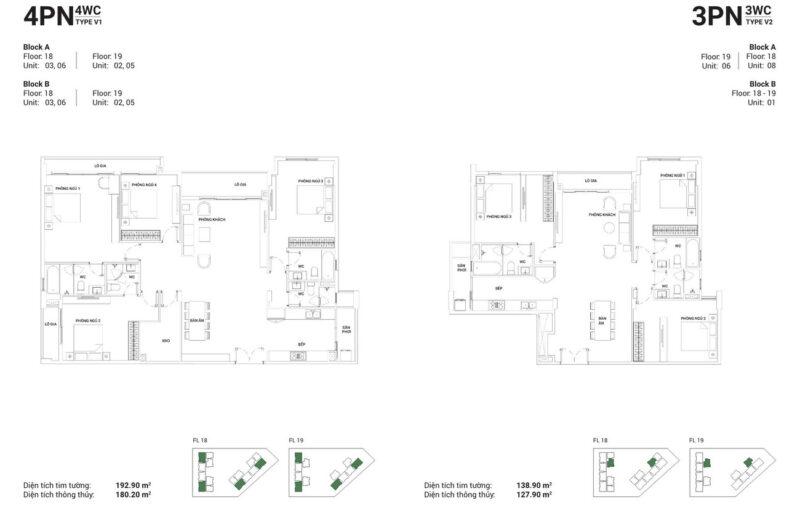 Thiết kế căn hộ 4PN-4WC và căn hộ 3PN-3WC.