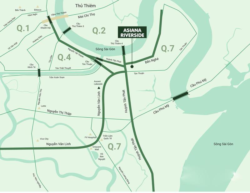 Vị trí dự án Asiana Riverside Quận 7.